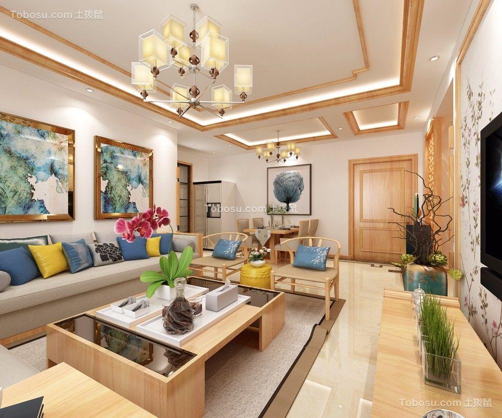 樱花郡107平米新中式风格三居室装修效果图