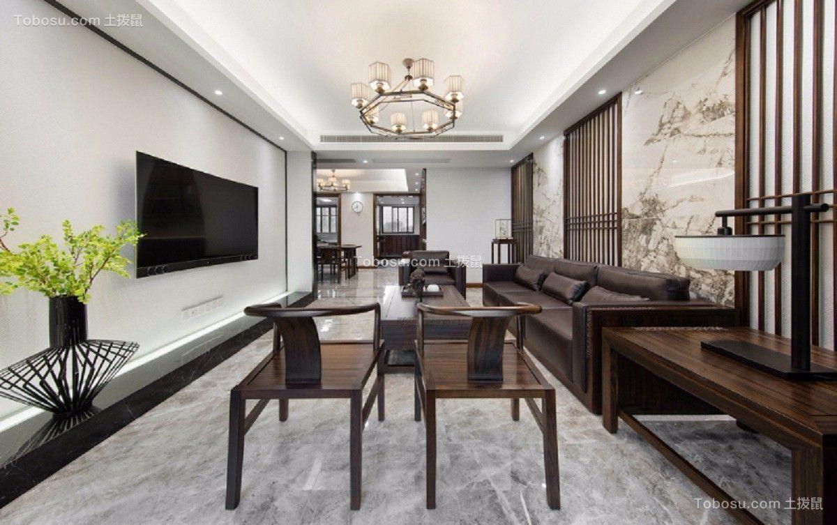 客厅 背景墙_闽江世纪城141平米新中式风格装修效果图