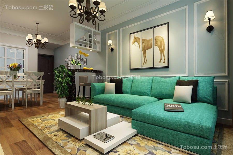 万达华府100平现代风格三居室装修效果图