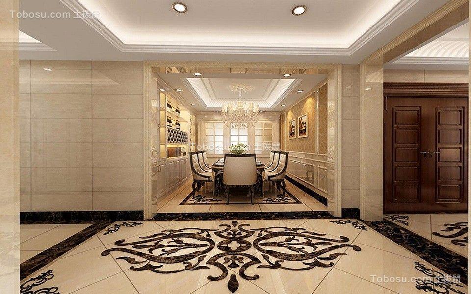 餐厅黑色餐桌欧式风格装饰效果图