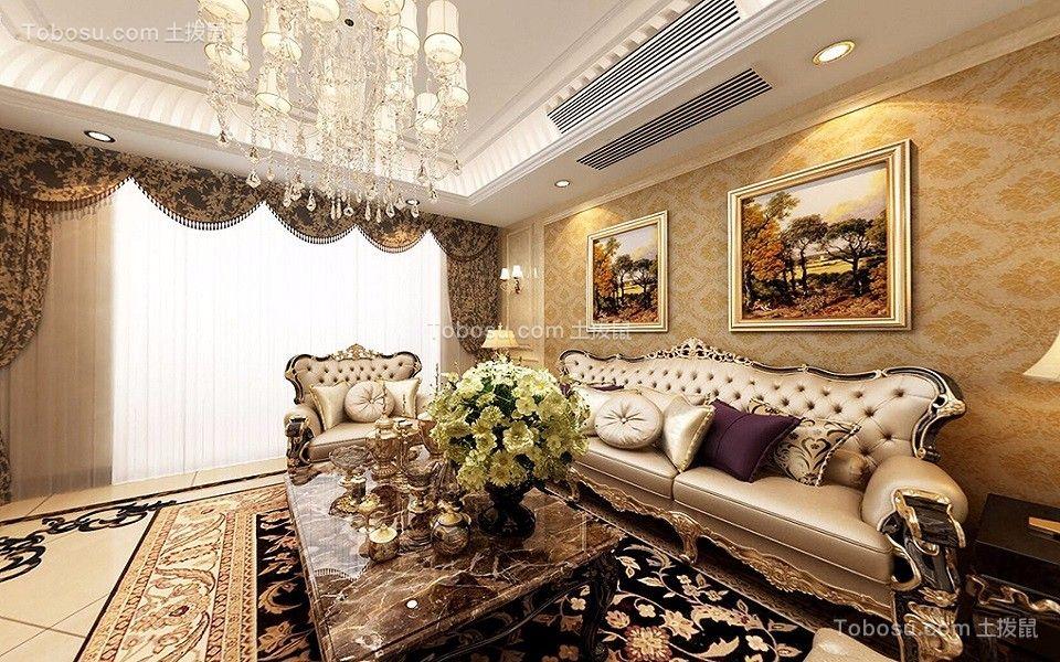 客厅黄色沙发欧式风格装潢效果图