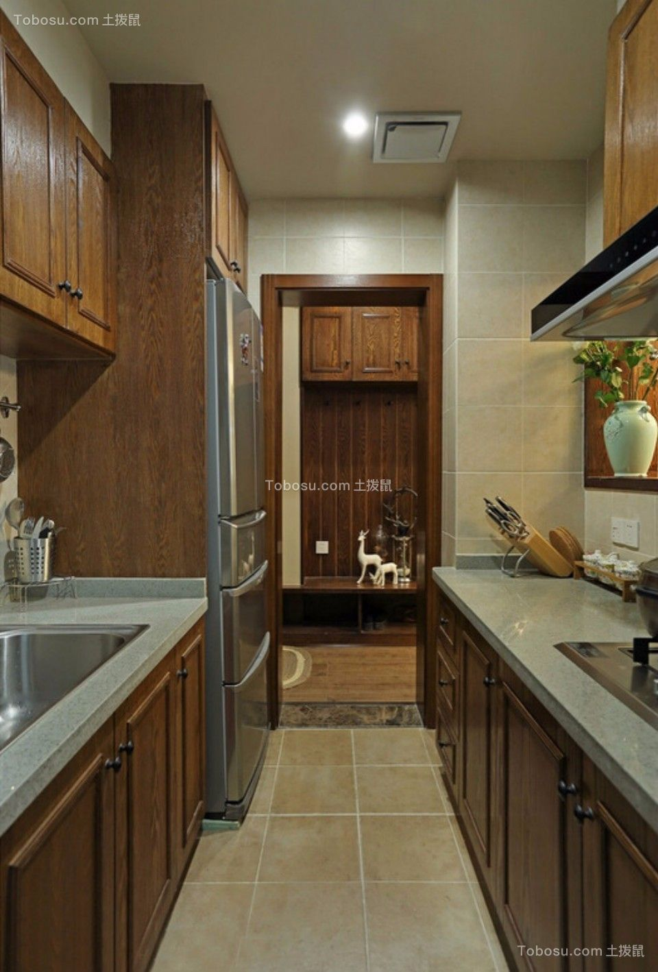 厨房 橱柜_城南锦绣70平两室一厅美式装修效果图