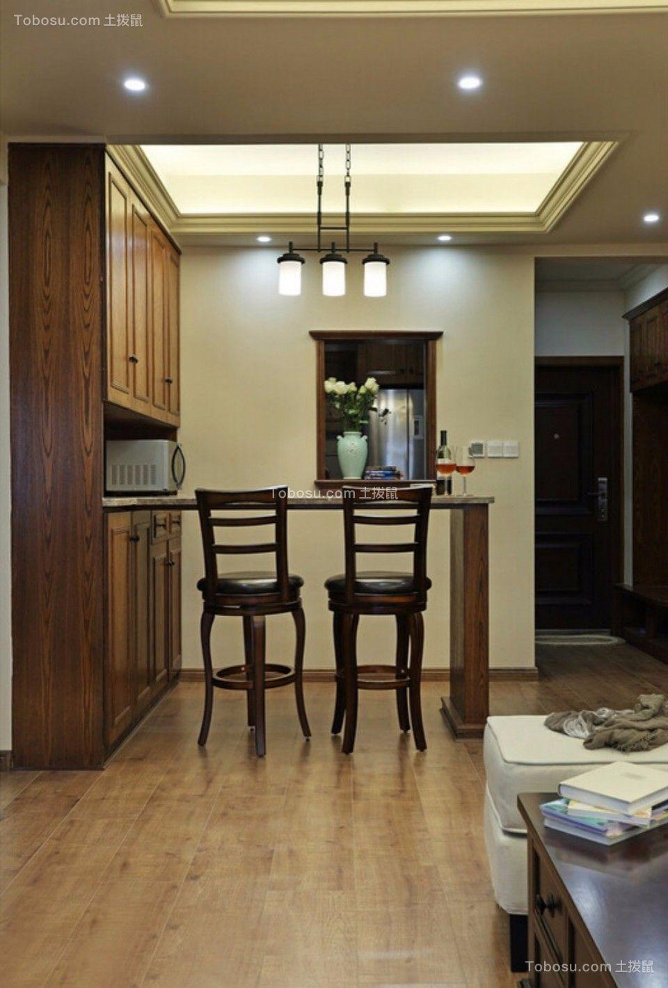 客厅 走廊_城南锦绣70平两室一厅美式装修效果图