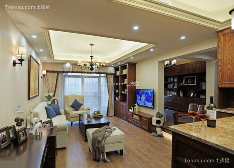 客厅 吊顶_城南锦绣70平两室一厅美式装修效果图