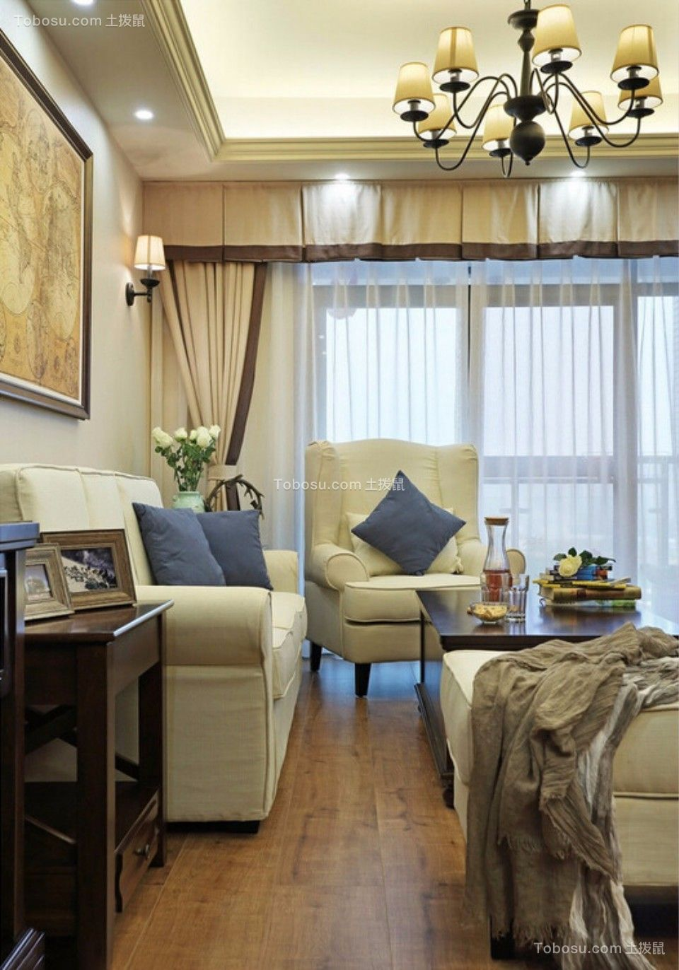 客厅 沙发_城南锦绣70平两室一厅美式装修效果图