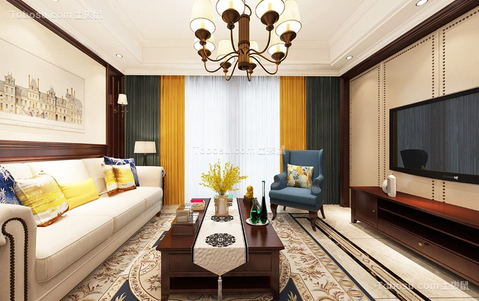 保利公园九里128平方米美式风格四居室装修效果图