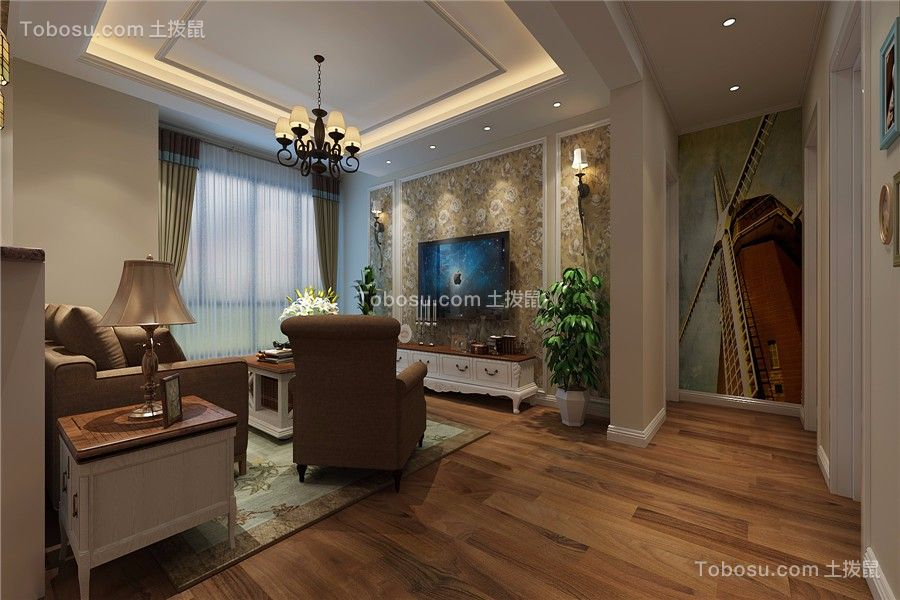绿地新都会90平美式风格三居室装修效果图