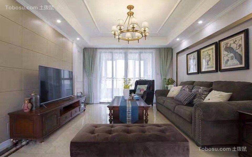 泊林春天120平米美式风格三居装修效果图