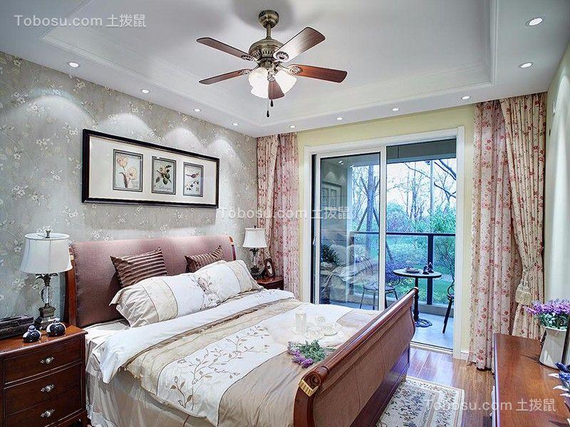 卧室白色落地窗田园风格装修图片