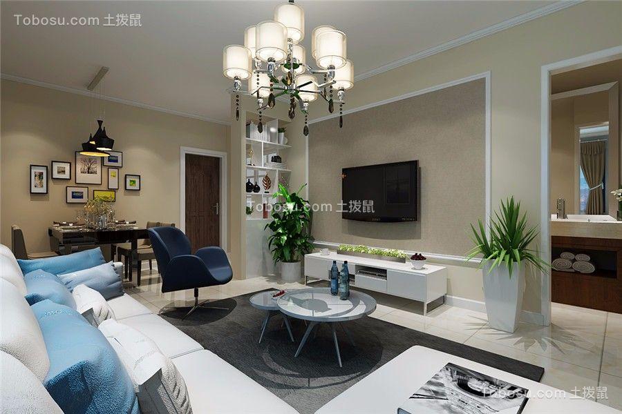 简爱城100平米现代风格三居室装修效果图