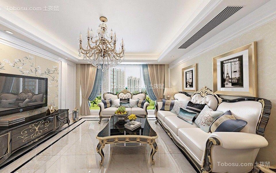 力高滨湖国际110平米三居室欧式风格装修效果图