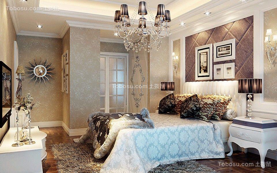 卧室紫色照片墙欧式风格装潢设计图片