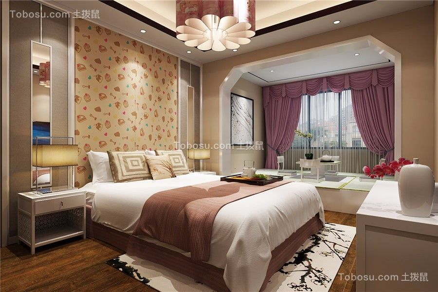 高速时代城新中式风格三居室装修效果图