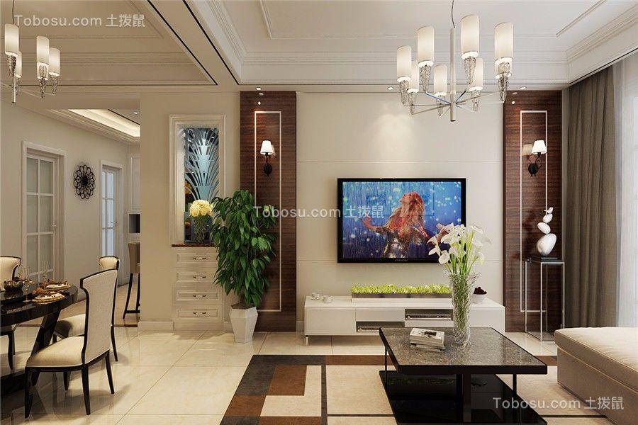 国开公馆89平美式风格三居室装修效果图