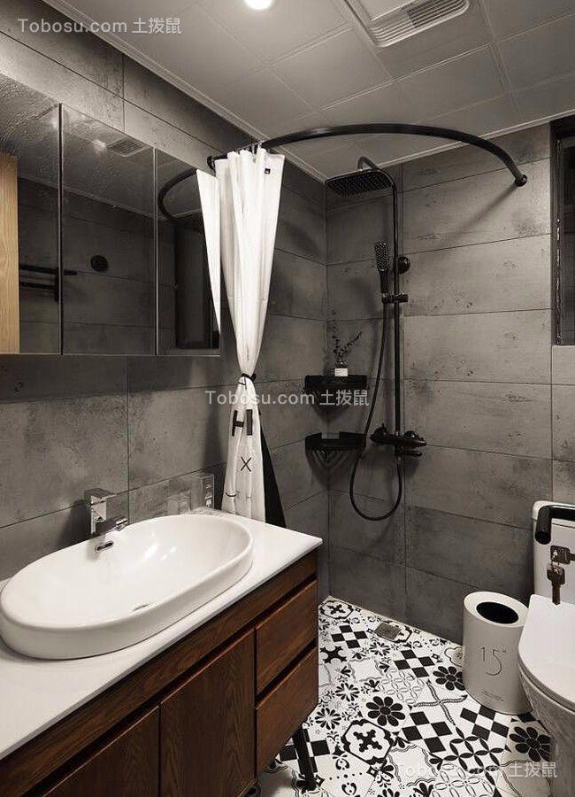 卫生间灰色洗漱台北欧风格效果图
