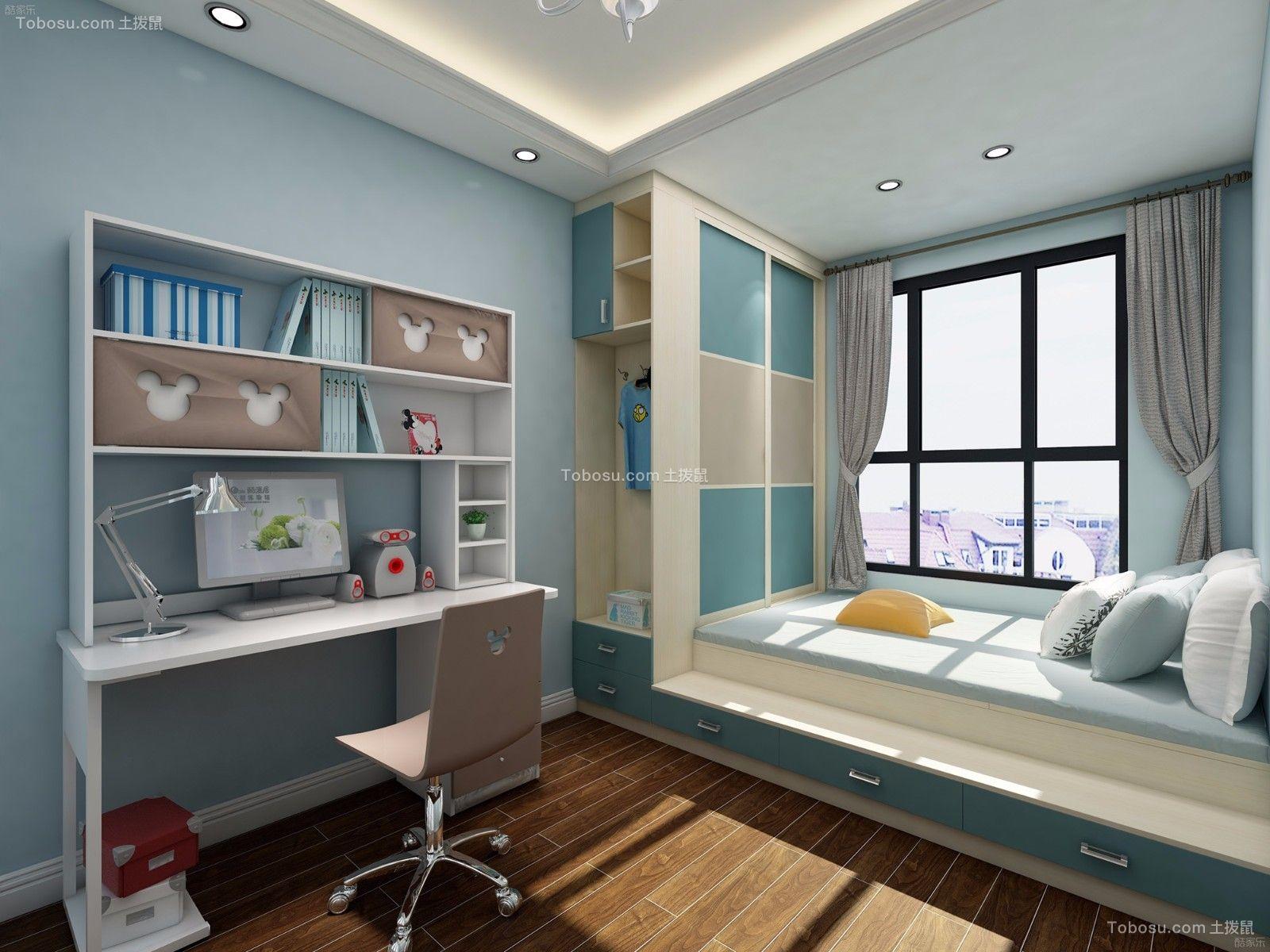 卧室白色书桌美式风格装饰设计图片