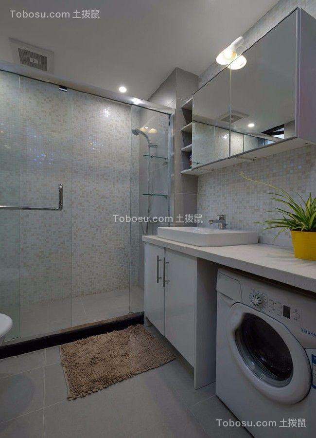 卫生间白色地砖北欧风格装潢图片