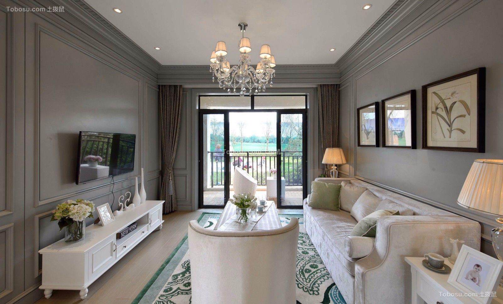 客厅绿色电视柜美式风格装潢效果图