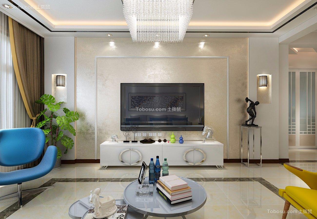 客厅 背景墙_金色八里城87平简约二居室装修效果图