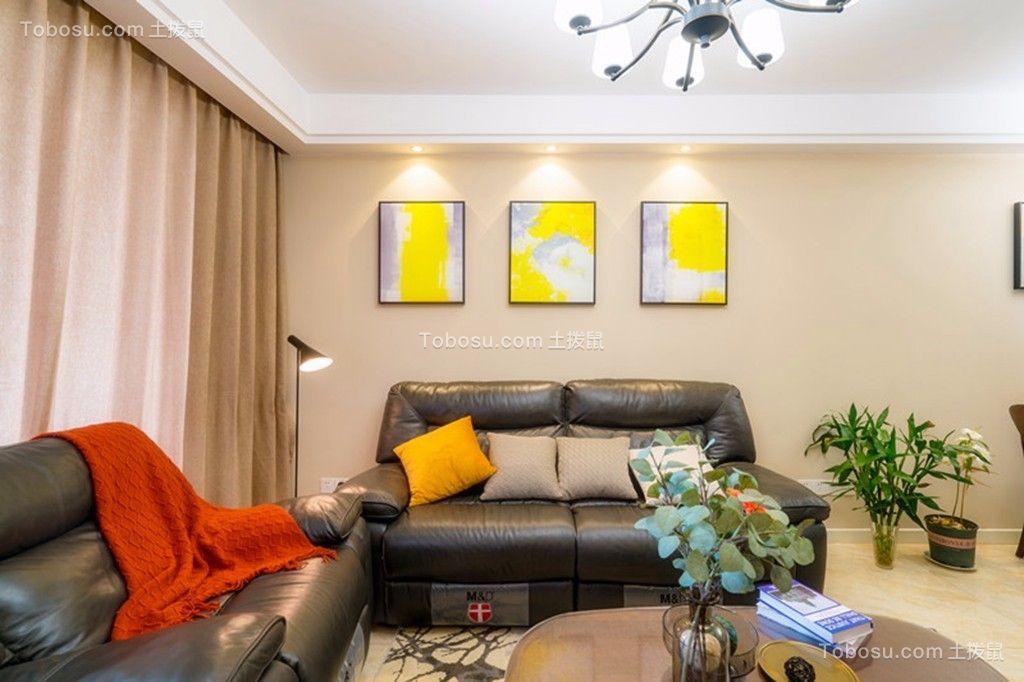 万达旅游城105平米现代简约风格三居室装修效果图