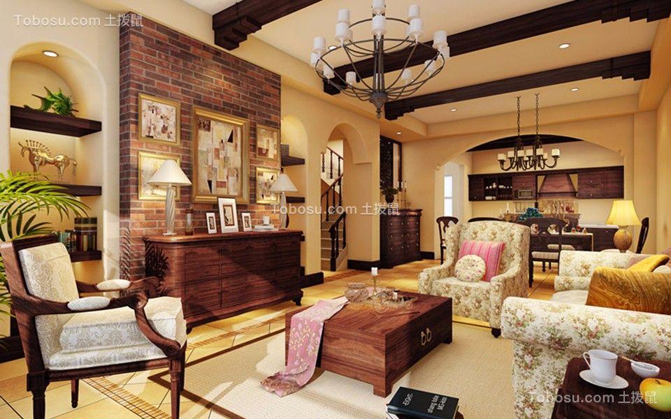 水墨清华230平美式风格五居室装修效果图