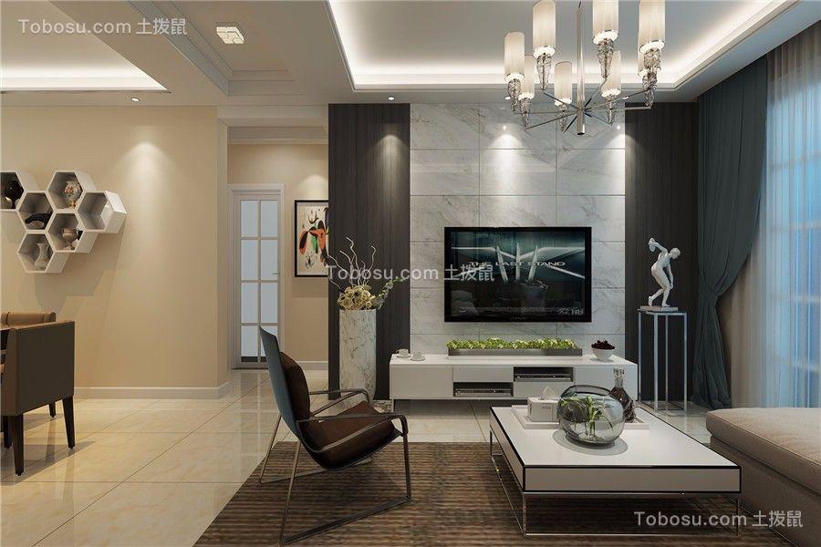 华夏名湾学府现代风格100平米三居室装修效果图