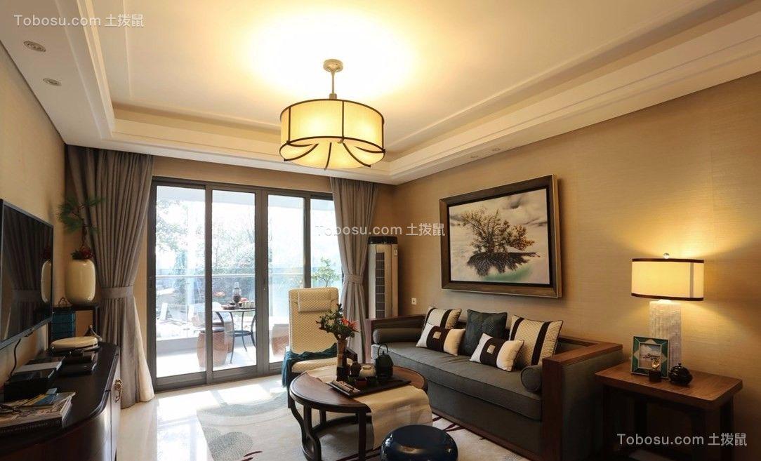 禹州中央城104平米新中式风格三室两厅一厨一卫装修效果图