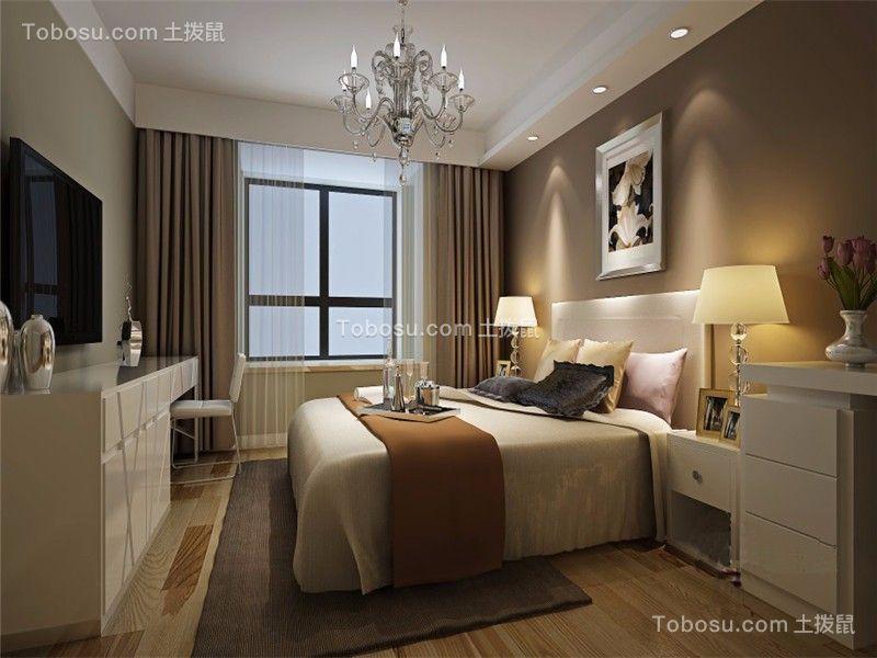 卧室咖啡色背景墙欧式风格装潢图片