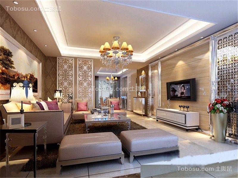 欧式风格104平米小户型房子装饰效果图