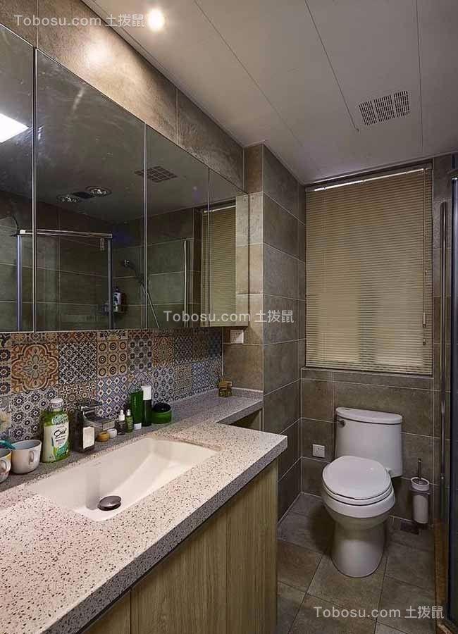 卫生间米色洗漱台现代简约风格装饰效果图