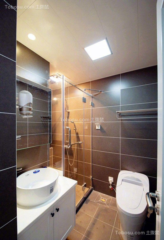卫生间黑色地板砖现代简约风格装潢效果图