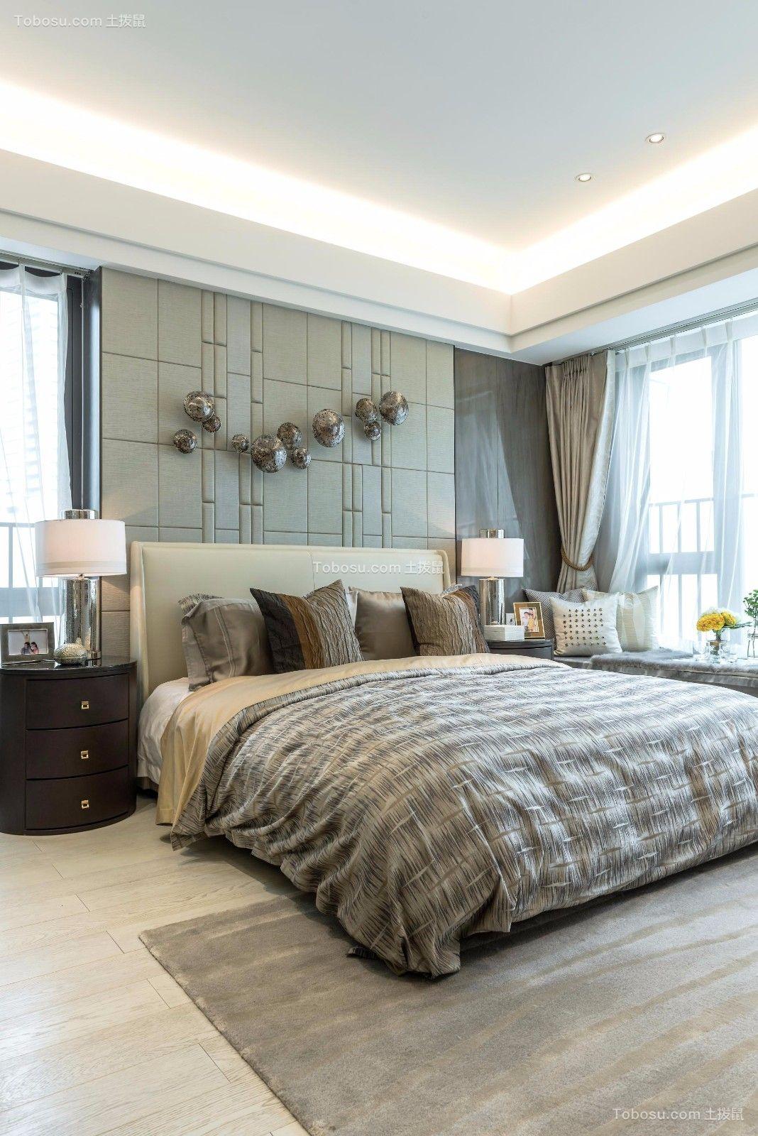 卧室米色窗帘简约风格装饰效果图