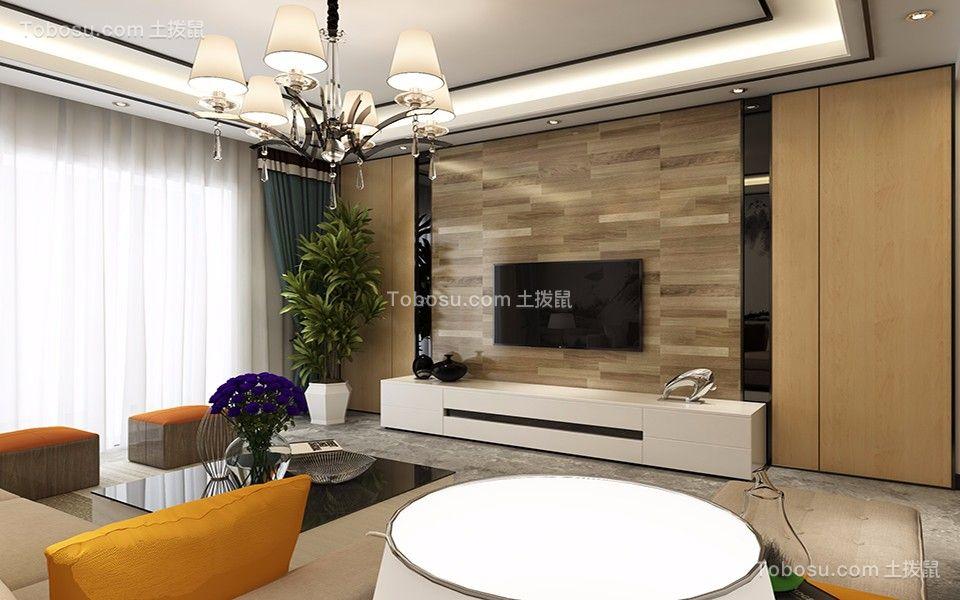 客厅绿色背景墙现代简约风格装潢图片