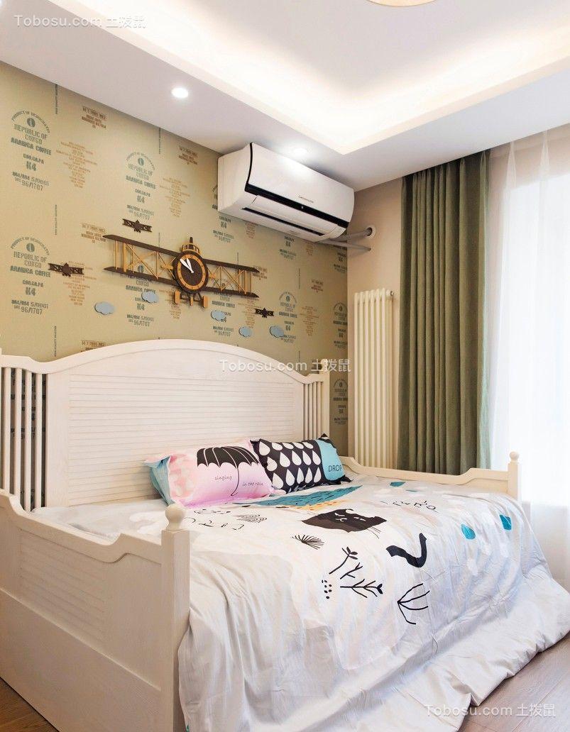 卧室绿色窗帘现代风格装潢效果图