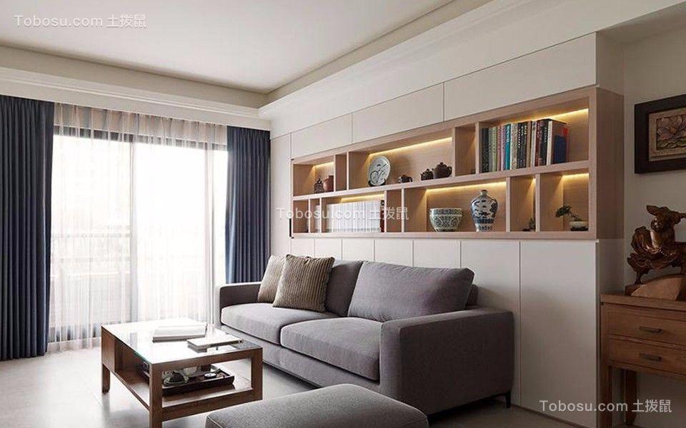 客厅蓝色窗帘现代风格效果图