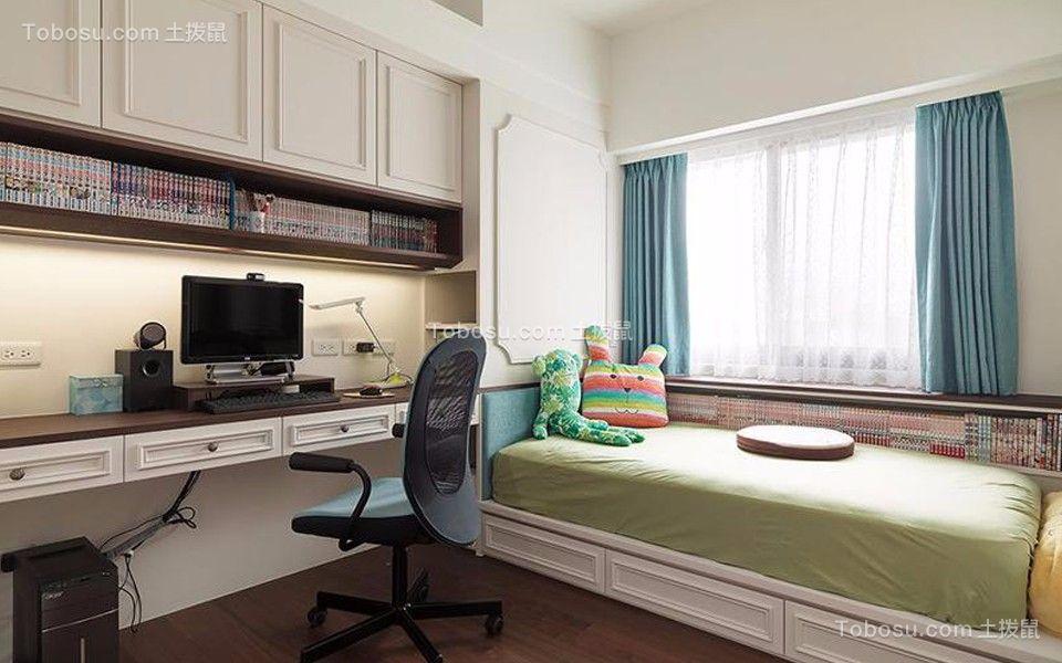 卧室蓝色窗帘现代风格装修效果图