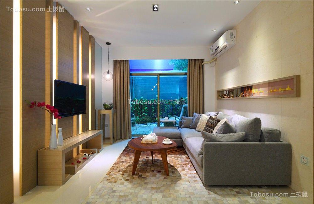 聚湖半岛86平简约风格二居室装修效果图