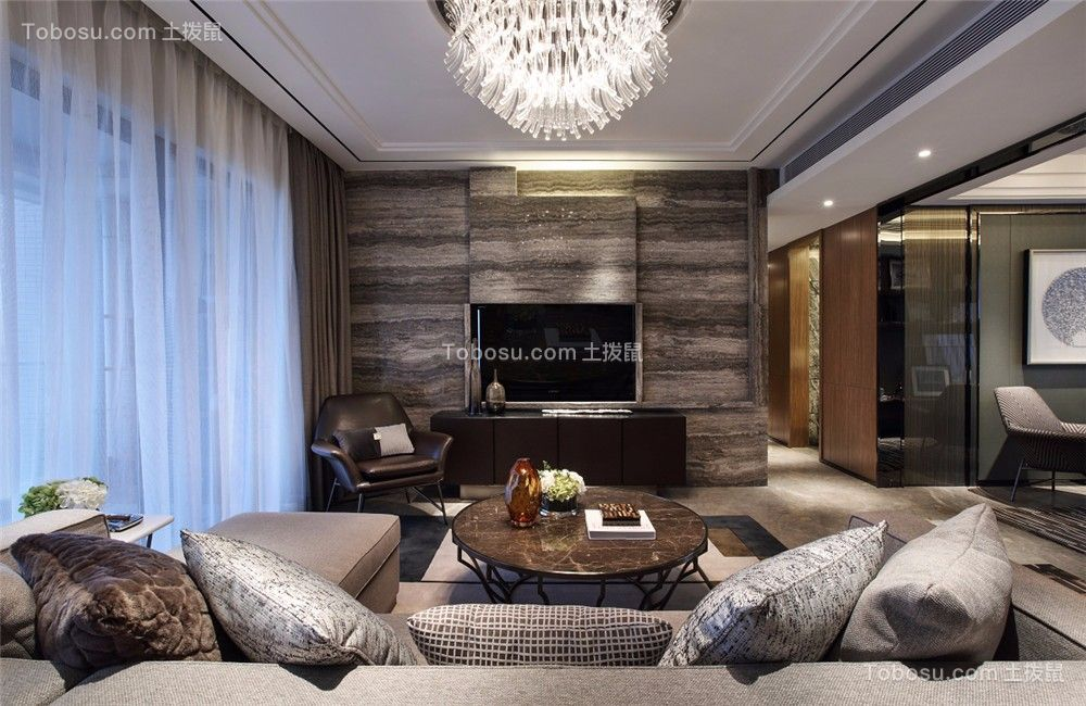 环太湖艺术城138平现代风格三居室装修效果图