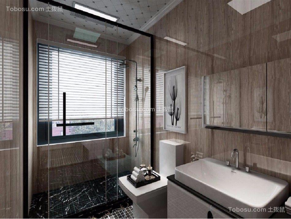 卫生间灰色洗漱台后现代风格装潢效果图