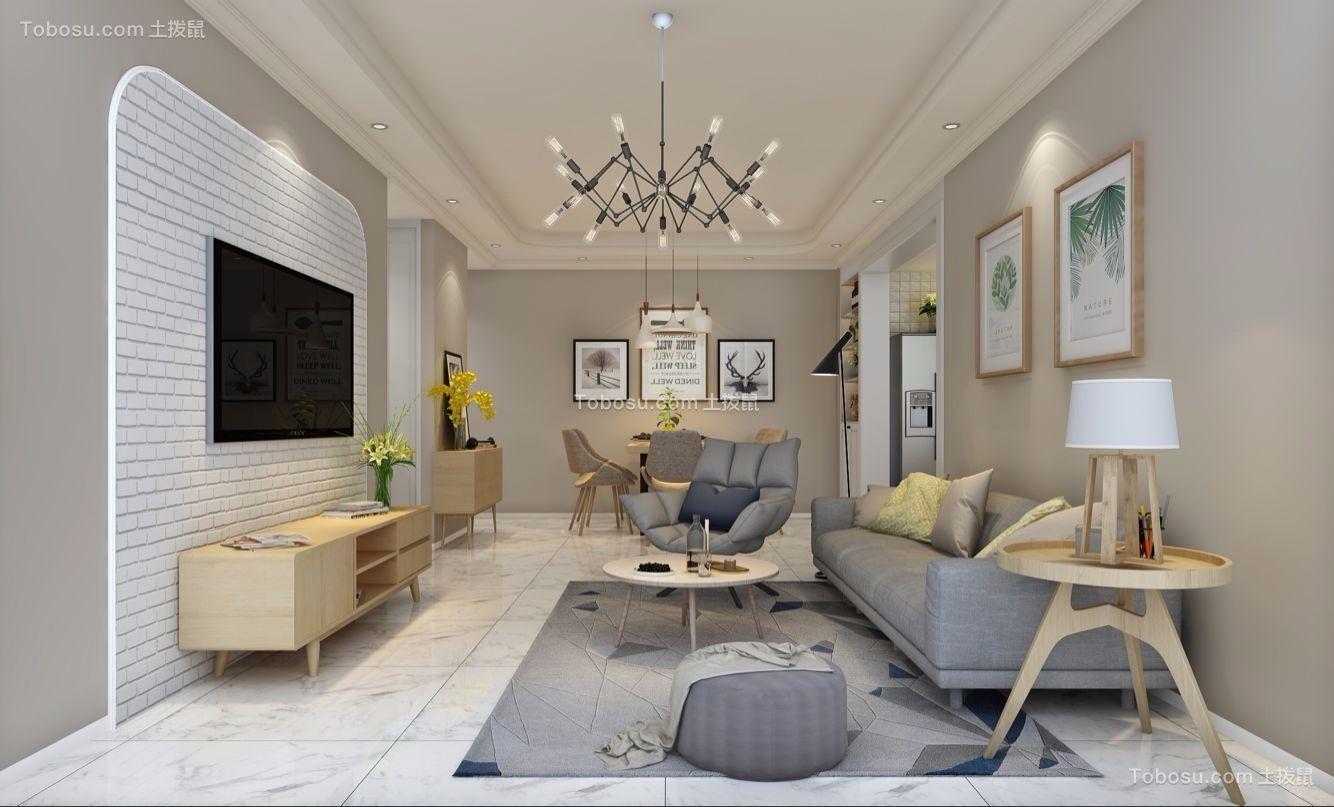 100平北欧风格二居室装修效果图
