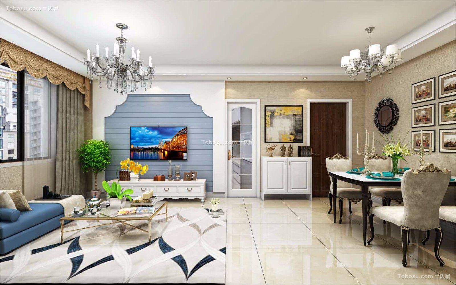 合郢花园90平米现代简约风格三居室装修效果图