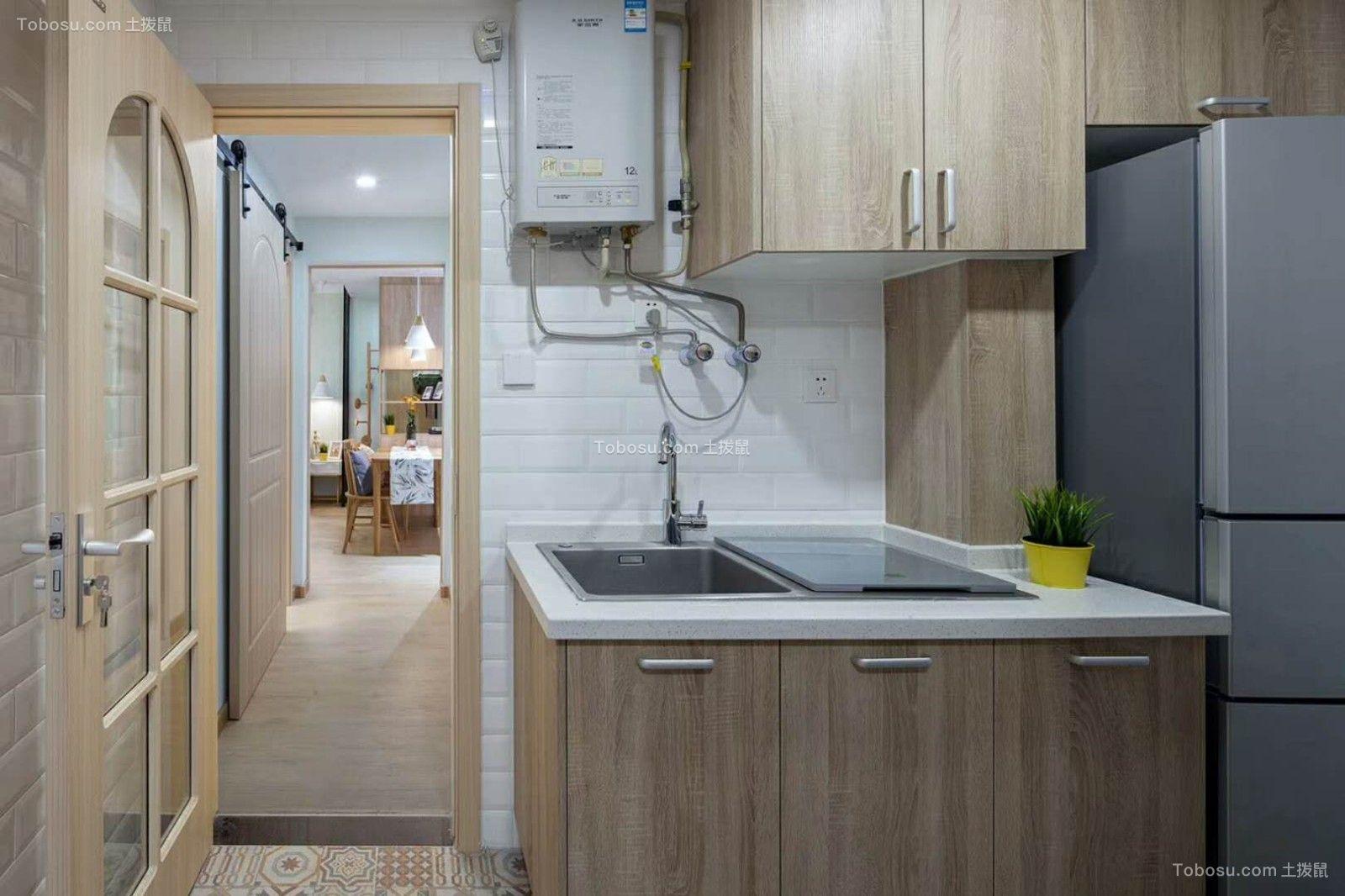 厨房蓝色橱柜简约风格装饰设计图片