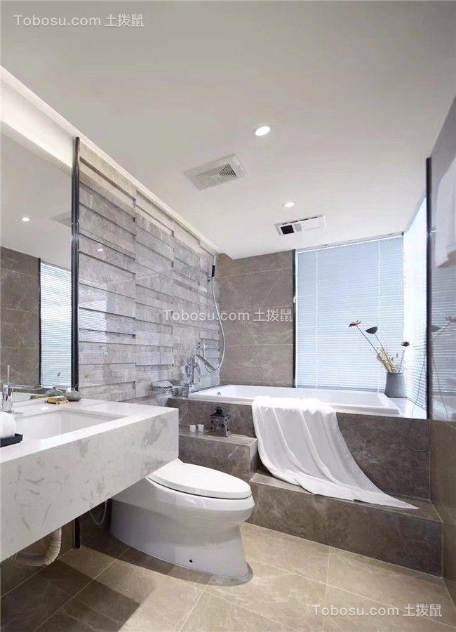 卫生间白色地砖新中式风格装修图片