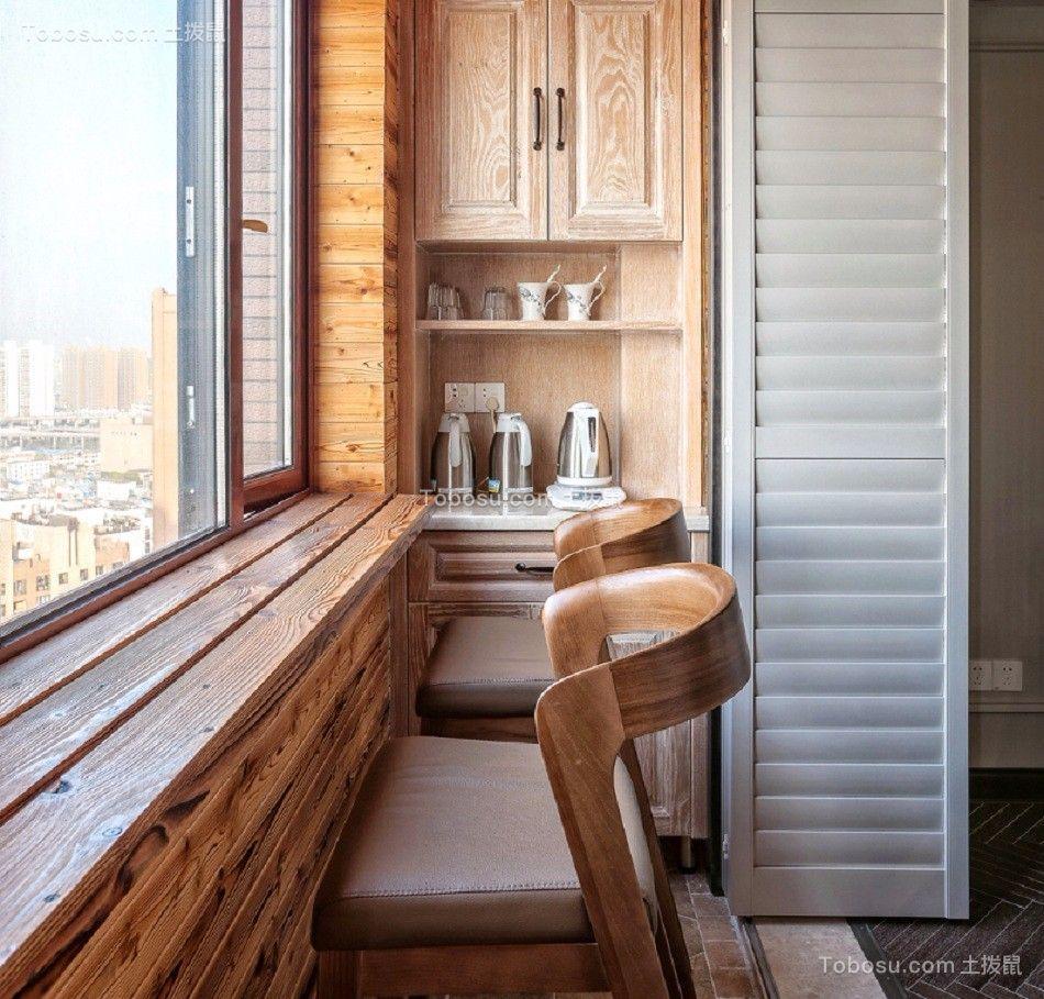 阳台咖啡色书桌现代风格效果图