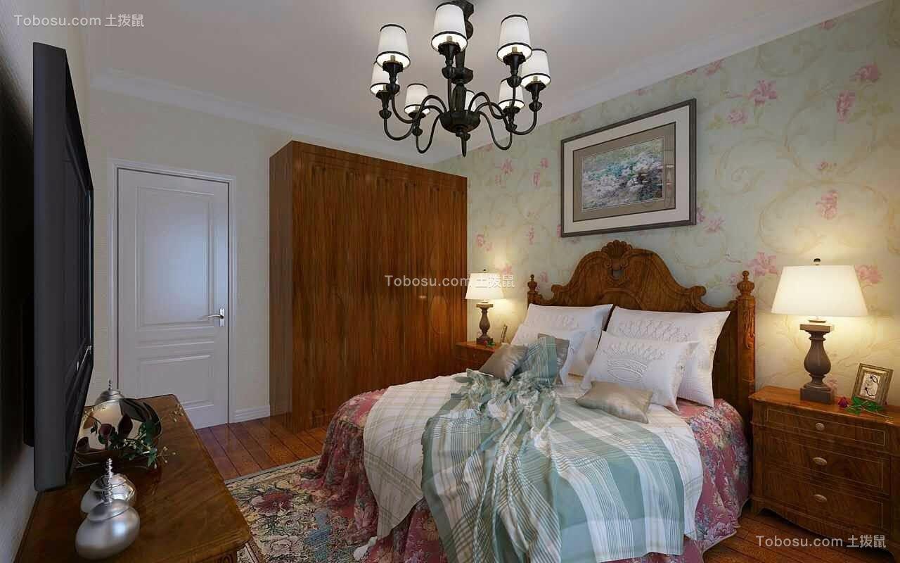 卧室红色衣柜美式风格装潢设计图片