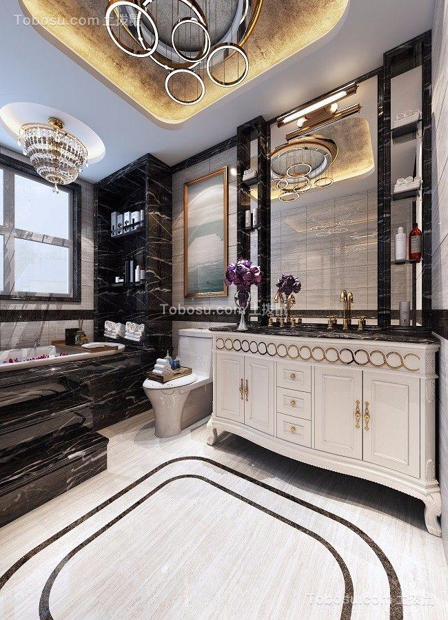卫生间黑色洗漱台欧式风格装潢设计图片