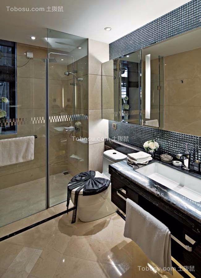 卫生间米色地砖新古典风格装潢设计图片