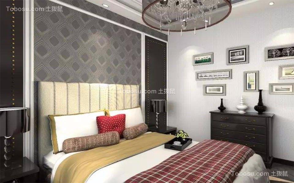 卧室白色照片墙简欧风格效果图