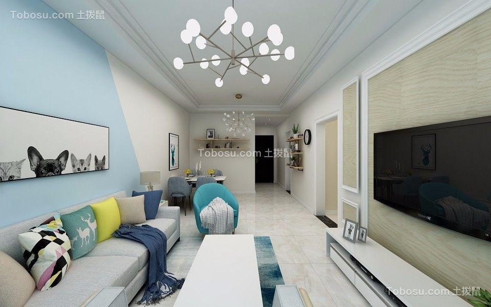 客厅蓝色背景墙现代简约风格装潢图片