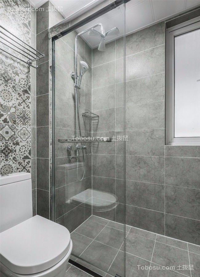 卫生间白色地砖现代简约风格装潢效果图